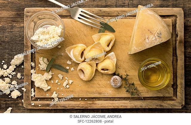 Fresh handmade tortellini stuffed with ricotta and parmigiano cheese