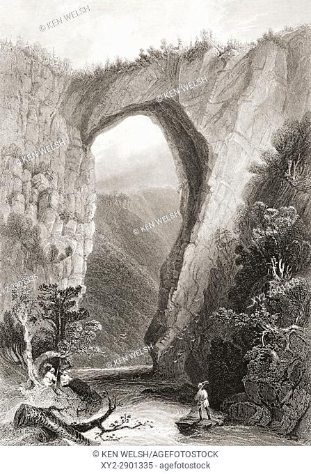 Natural bridge, Virginia, USA. From the book Gallery of Historical Portraits published c. 1880