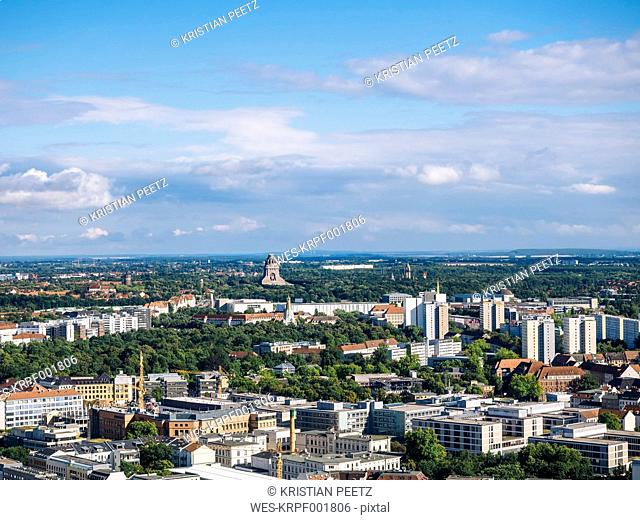 Germany, Leipzig, view to the city with Monument to the Battle of the Nations in the background