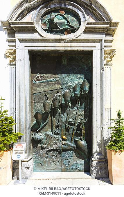 Door. Ljubljana Cathedral or St. Nicholas's Church. Ljubljana, Slovenia, Europe