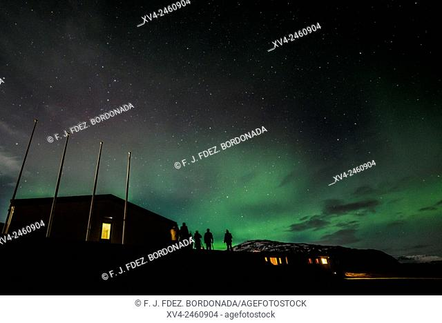 Northern light above Icelandic Hotel at southern Iceland