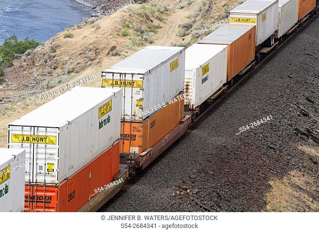Containers on a BNSF stack train in North McNary, Washington, USA