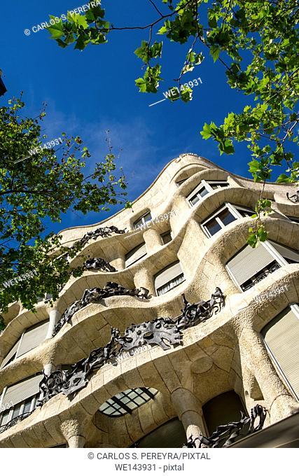 Casa Mila -La Pedrera- by Antoni Gaudi architect in Paseo de Gracia avenue, Barcelona, Catalonia, Spain