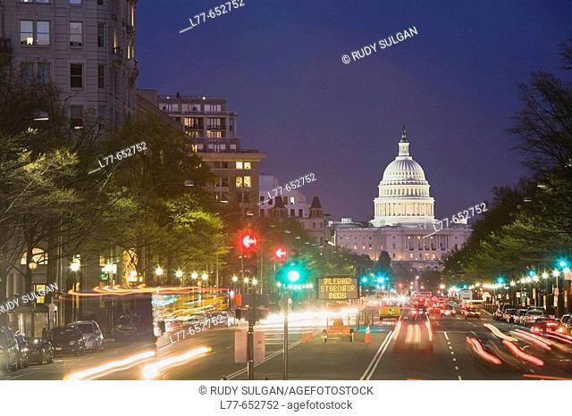Capitol Building and Pennsylvania Avenue. Washington D.C. USA