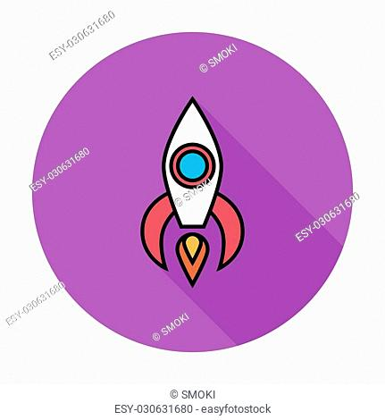 Rocket thin line flat vector related icon set for web and mobile applications. It can be used as - pictogram, icon, infographic element