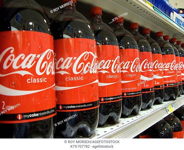 Coca cola on shelves