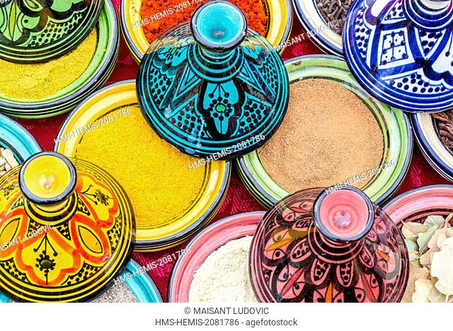 Morocco, High Atlas, Marrakech, various spices used in Moroccan cuisine (ras el hanout, turmeric, ginger)