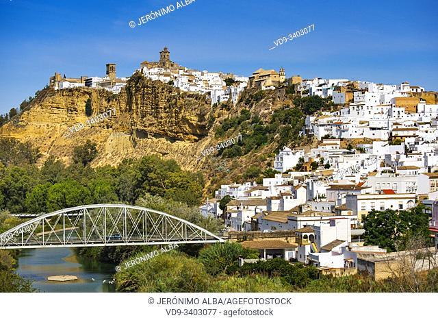 White village of Arcos de la Frontera. Pueblos Blancos de la Sierra de Cadiz. Southern Andalusia, Spain. Europe