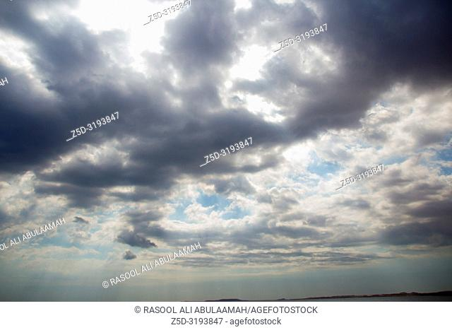 Sharm El-Shaikh, Egypt - November 2, 2018:- photo for Red Sea In the Egyptian city of Sharm el-Sheikh, which showing water and clouds