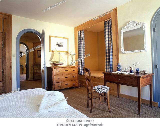 France, Charente Maritime, Ile de Re, Ocean hotel, bedroom