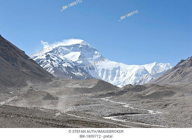 Summit of Mount Everest, Base Camp north, glacier flow, terminal moraine, the Himalayas, central Tibet, U-Tsang, Tibet Autonomous Region