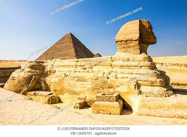 Sphinx of Giza with Great Pyramid in background. Egypt