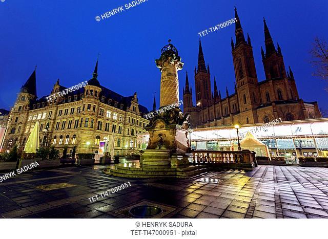 Monument on illuminated square