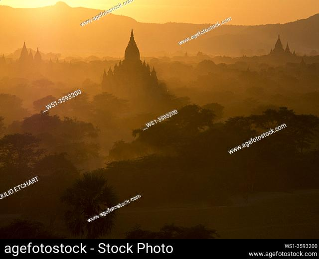 Sunset in the Buddhist temples of Bagan, Myanmar