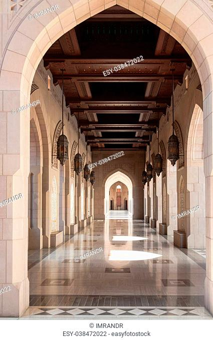 Courtyard of Sultan Qaboos Mosque, Muscat, Oman