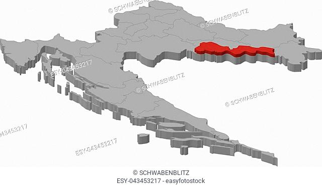 Map of Croatia as a gray piece., Brod-Posavina is highlighted in red