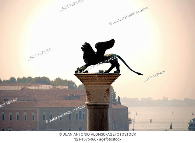 Lion of Saint Mark, Piazza San Marco, San Marco, Venice, Veneto, Italy, Europe