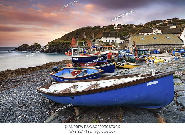 Boats at the picturesque fishing cove at Cadgwith on Cornwall's Lizard Peninsula, captured at sunrise in mid May