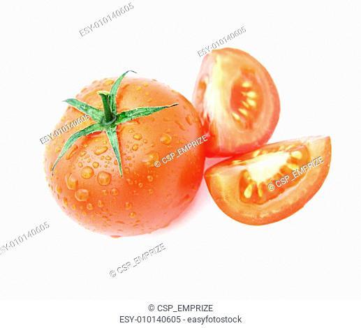 fresh tomato isolated on white background