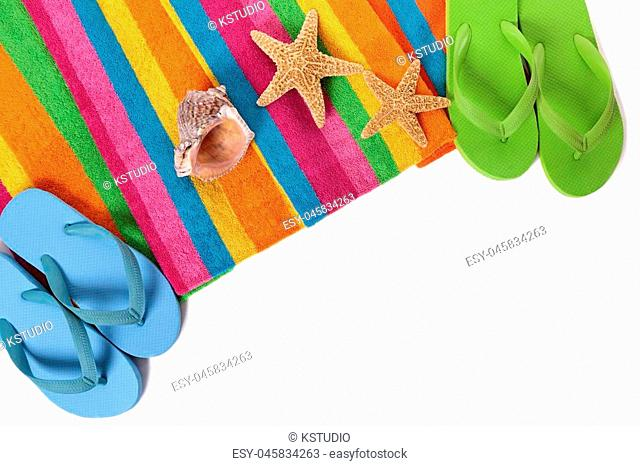 Flip flops and summer beach objects isolated on white background