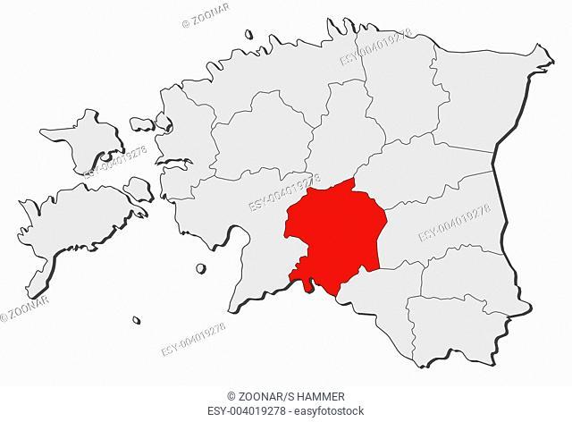 Map of Estonia, Viljandi highlighted