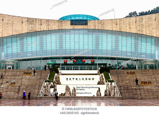 Chongqing, China - The view of Chinese Three Gorges Museum with some tourists in the daytime