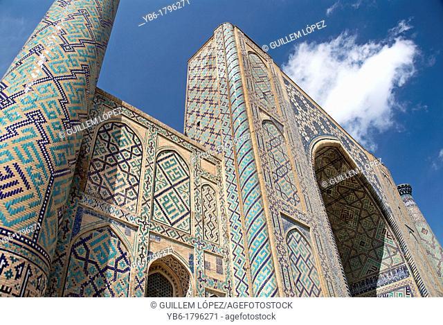 Ulugh Beg Madrasah in the Registan Square, Samarkand, Uzbekistan