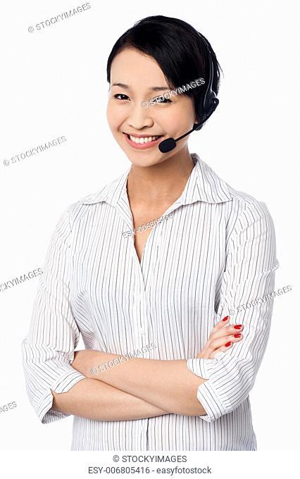 Confident female call centre executive