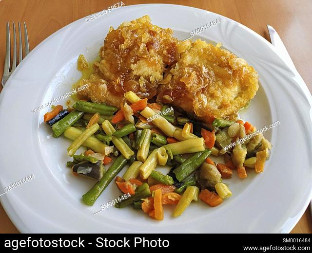 Codfish with honey and vegetables