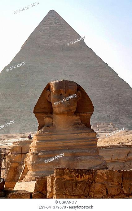 Close view of restoration of the Great Sphinx of Giza in front of pyramid of Khafre