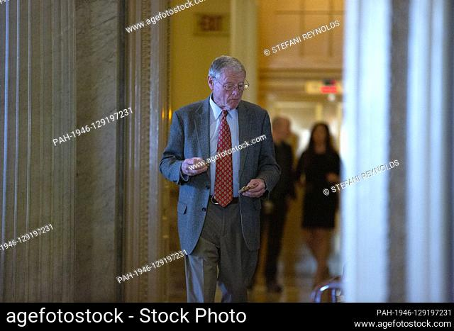 United States Senator Jim Inhofe (Republican of Oklahoma) returns to the Senate Chamber following a brief recess in the impeachment trial of United States...
