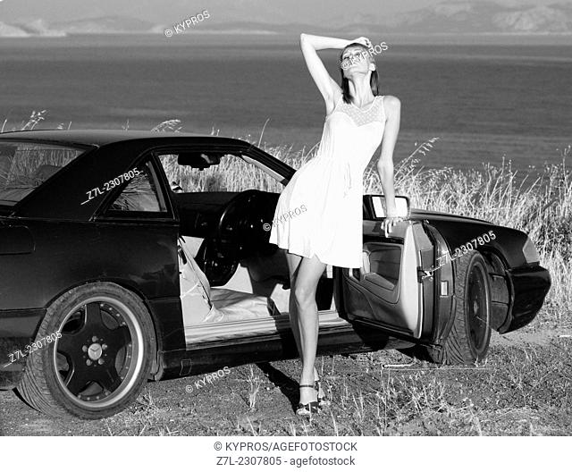 Mercedes Sports Car Woman Car Driving Model Released Greece Lifestyle Portrait Young Adult One Person Only Young Women Beautiful Alone Caucasian People...