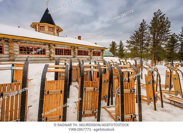 Sleds at Kakslauttanen Hotel, Lapland, Finland