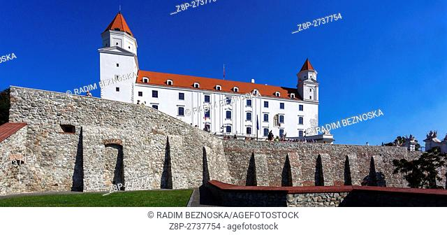 Bratislava Castle, situated on a plateau 85 metres (279 ft) above the Danube river, Slovakia, Europe