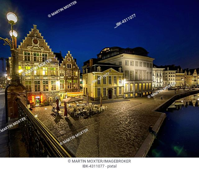 Guild houses in the old city at night, Ghent, Flanders, Belgium