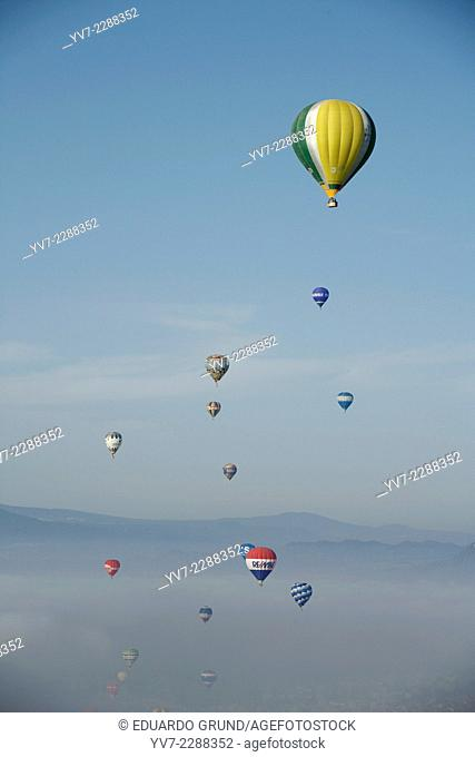 Balloons fliying in European hot air balloon festival Igualada, Barcelona, Catalonia, Spain, Europe