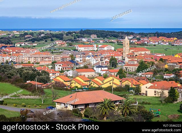 Aerial view of Ajo town located on the Ajo cape on the Bay of Biscay in Cantabria region of Spain