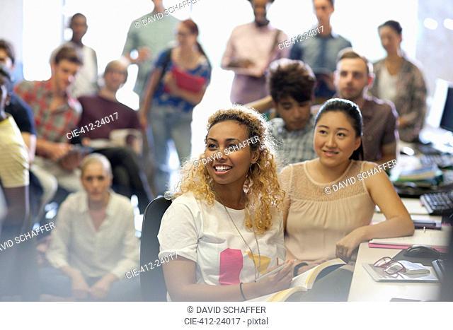 University students at seminar in IT classroom