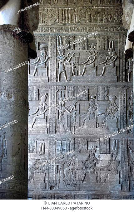 Egypt, Dendera, Ptolemaic temple of the goddess Hathor.Carvings on interior walls