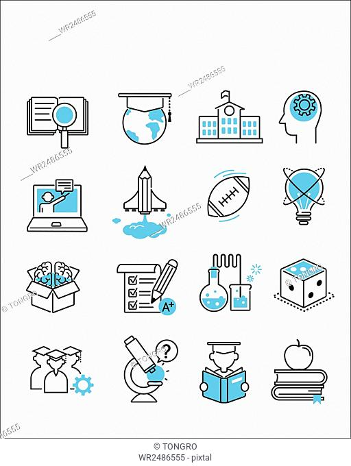 Set of various line icons related to school education and knowledge