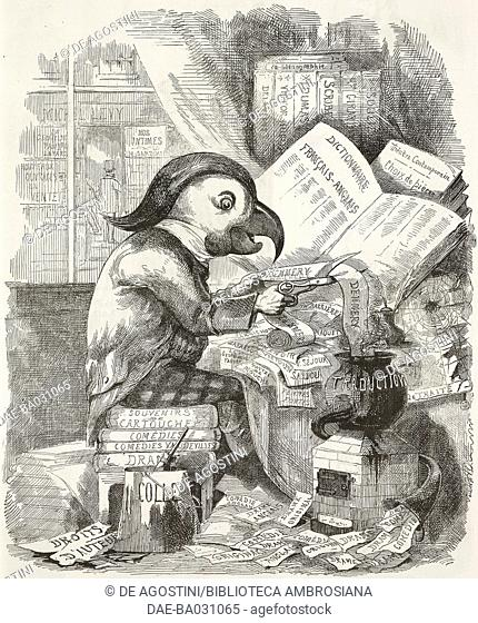Caricature of an English playwright who creates original works for the London theatres, the English in Paris, illustration by Watts Philips from the Journal...