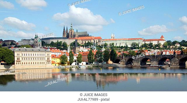 View of castle and bridge in Prague