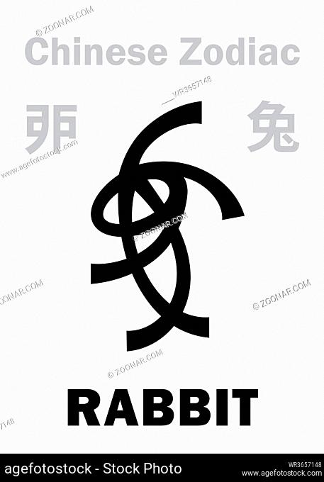 Astrology Alphabet: RABBIT / HARE [?] sign of Chinese Zodiac. Chinese character, hieroglyphic sign (symbol)