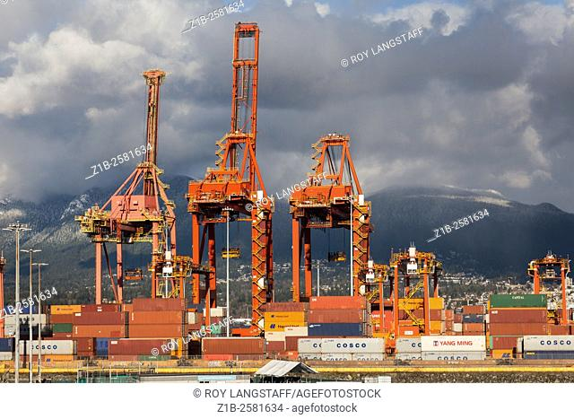 Containers and cranes at the Vancouver dock area