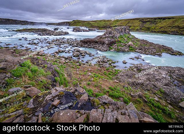 Aerial view of Urridafoss waterfall located in the Thjorsa River in southwest Iceland