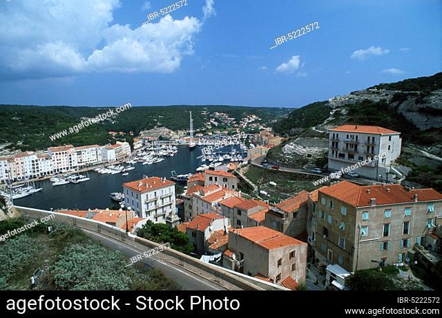 View on Bonifacio and harbour, Corsica, France, View on Bonifacio and harbour, Corsica, France, Europe