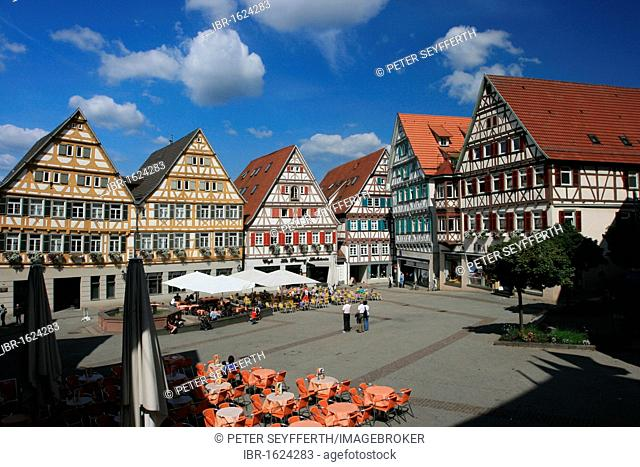 Marketplace, Herrenberg, Boeblingen county, Baden-Wuerttemberg, Germany, Europe