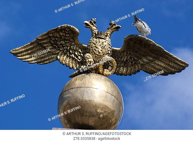 Detail of double-eagle emblem resting on a sphere above Obelisk Monument dedicated to Empress Alexandra, wife of Nicholas I, emperor of Russia