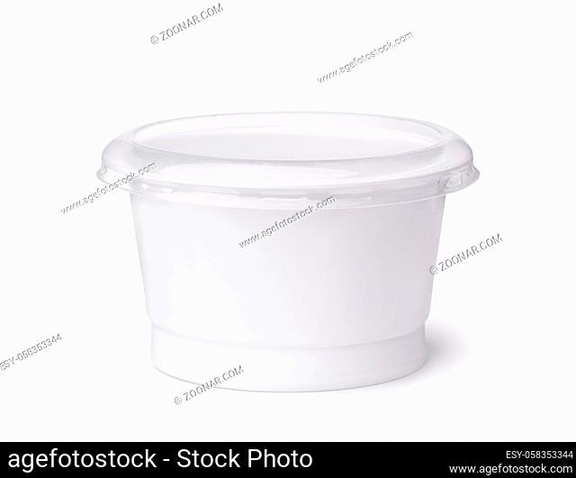 Front view of blank disposable plastic dairy cup isolated on white