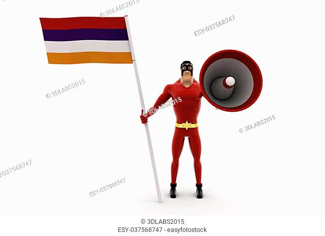 3d superhero with flag and loud speaker concept on white background, front angle view